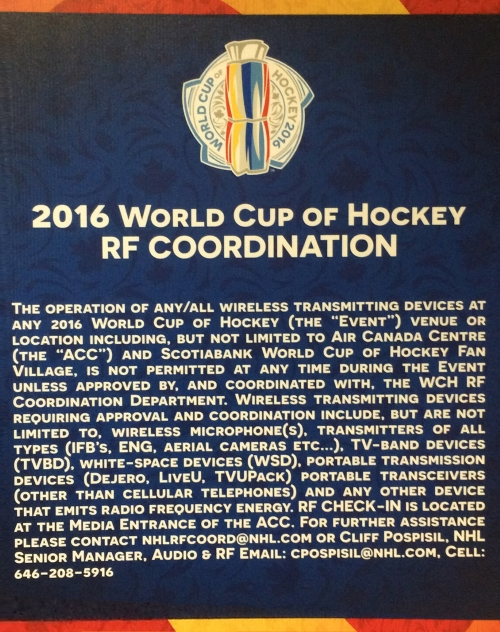World Cup of Hockey RF Coordination poster - RF wireless strategies